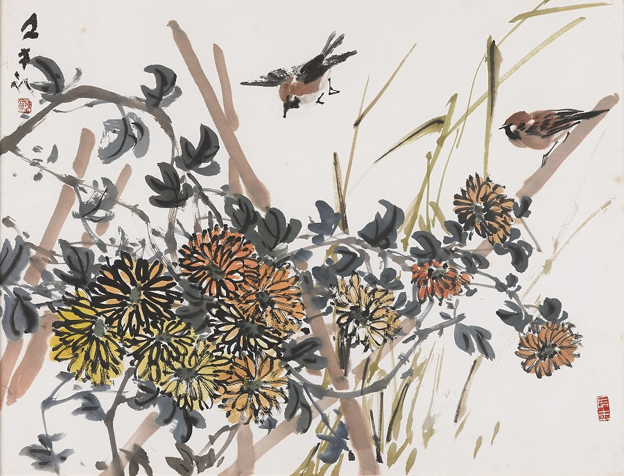 Chen Wen Hsi, Sparrows, Chrysanthemums (1976). (The Private Museum Singapore)