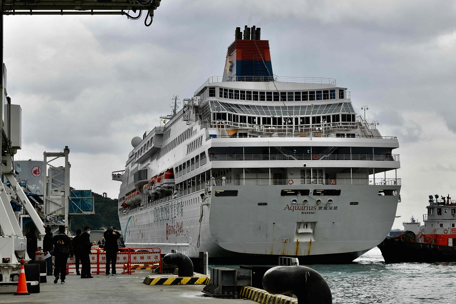 The cruise ship Superstar Aquarius arrives at the Keelung Harbor, northern Taiwan on 8 February 2020. (Sam Yeh/AFP)