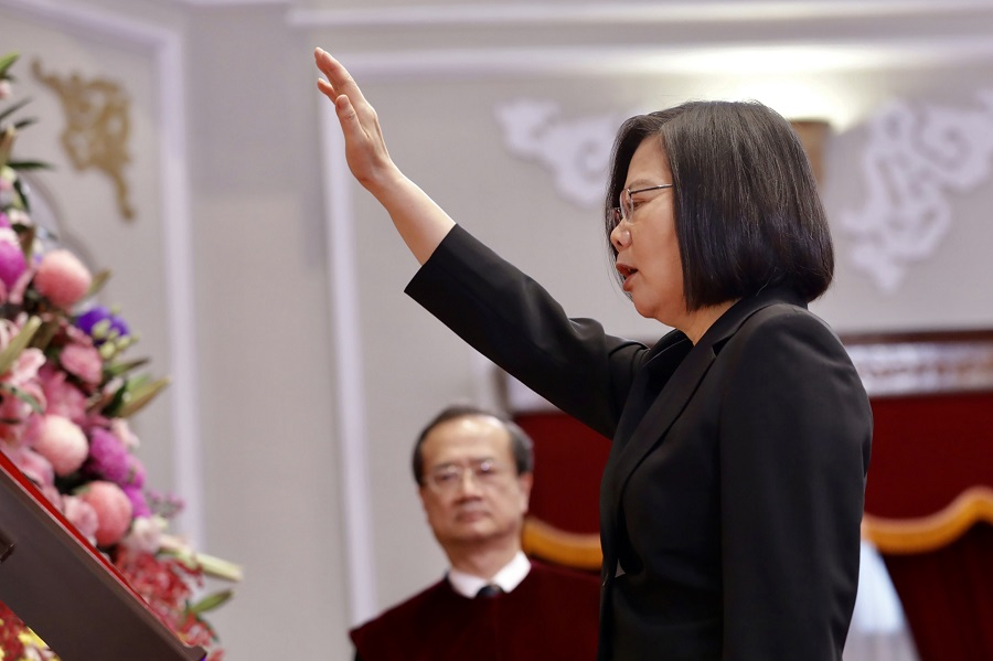This handout picture taken and released on 20 May 2020 by the Taiwan Presidential office shows Tsai Ing-wen being sworn in for her second term as Taiwan's President during her inauguration ceremony at the Presidential Office in Taipei. (Handout/Taiwan Presidential Office/AFP)