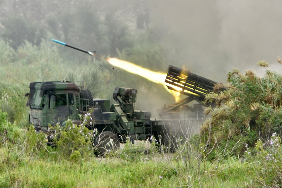 A projectile is launched from a Taiwanese-made Thunderbolt-2000 multiple rocket system during the annual Han Kuang military drills in Taichung on 16 July 2020, aimed to test how the armed forces would repel an invasion from China, which has vowed to bring Taiwan back into the fold — by force if necessary. (Sam Yeh/AFP)