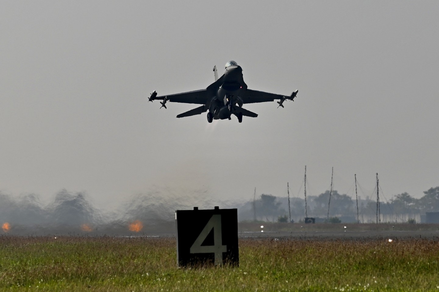 An armed US-made F-16V fighter takes off during an exercise at a military base in Chiayi, southern Taiwan on 15 January 2020. (Sam Yeh/AFP)