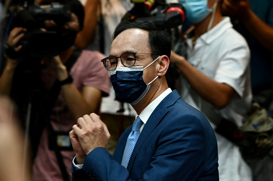 Eric Chu, Taiwan's newly-elected main opposition Kuomintang (KMT) chairman, gestures after his election victory for the party's leadership at the KMT headquarters in Taipei on 25 September 2021. (Sam Yeh/AFP)