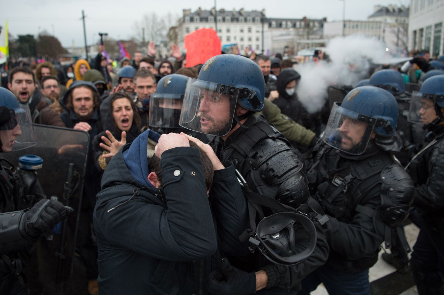 People take part in a demonstration in Nantes on December 17, 2019 to protest against the French government's plan to overhaul the country's retirement system, as part of a national general strike. (Photo by Loic Venance/AFP)