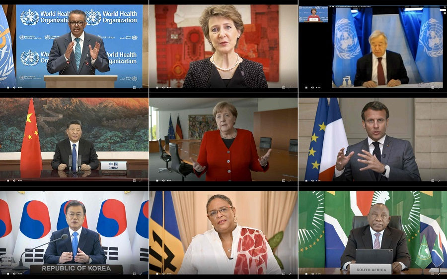 This combination created of nine video grabs taken on 18 May 2020 from the website of the World Health Organisation shows (top to bottom, left to right) WHO Director-General Tedros Adhanom Ghebreyesus, Swiss President Simonetta Sommaruga, UN Secretary-General Antonio Guterres, Chinese President Xi Jinping, German Chancellor Angela Merkel, French President Emmanuel Macron, South Korean President Moon Jae-in, Barbados Prime Minister Mia Mottley and South African President Cyril Ramaphosa delivering their speech via video link at the opening of the World Health Assembly virtual meeting from the WHO headquarters in Geneva, amid the Covid-19 pandemic. (World Health Organisation/AFP)