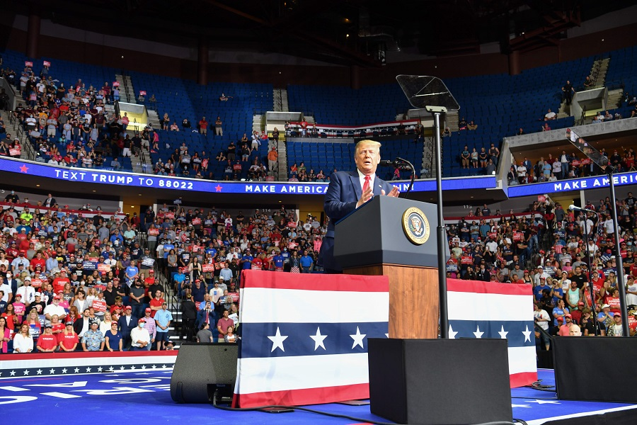 The upper section is seen partially empty as US President Donald Trump speaks during a campaign rally at the BOK Center on 20 June 2020 in Tulsa, Oklahoma. (Nicholas Kamm/AFP)