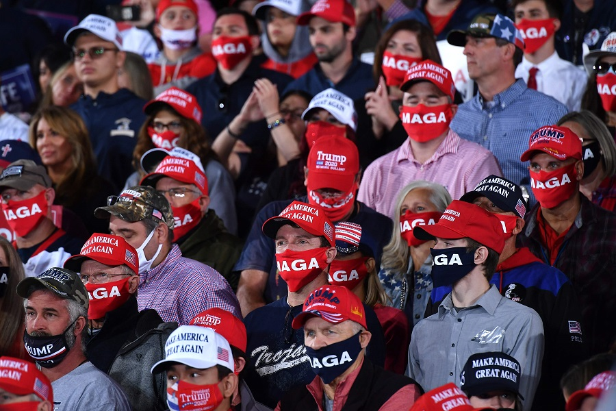 Supporters of US President Donald Trump attend a campaign rally at Pittsburgh International Airport in Moon Township, Pennsylvania on 22 September 2020. (Mandel Ngan/AFP)