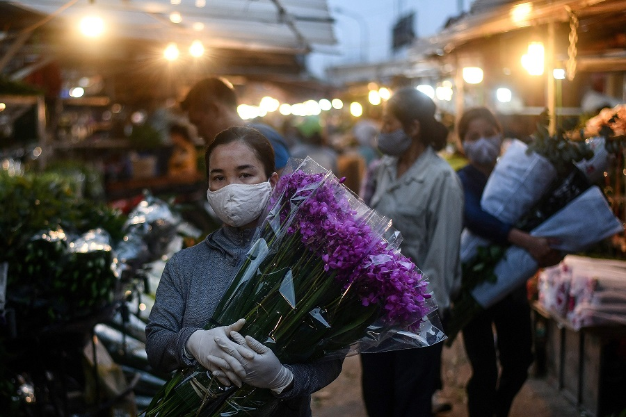A woman wearing a face mask amid concerns over the spread of the Covid-19 coronavirus carries flowers at the Quang Ba flower market in Hanoi at dawn on 11 May 2020. (Manan Vatsyayana/AFP)