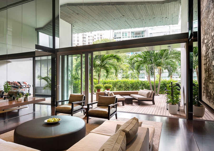 The Oliv by W Architects. This 23-unit condominiumin at Balmoral Road, Singapore, has green sky terraces that are angled in a non-linear configuration along its facade. (The Oliv)