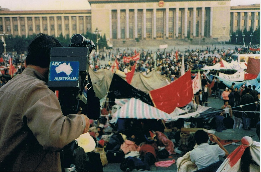 A footage of the Tiananmen Square protests in 1989, captured by veteran cameraman Willie Phua. (National Museum of Singapore)