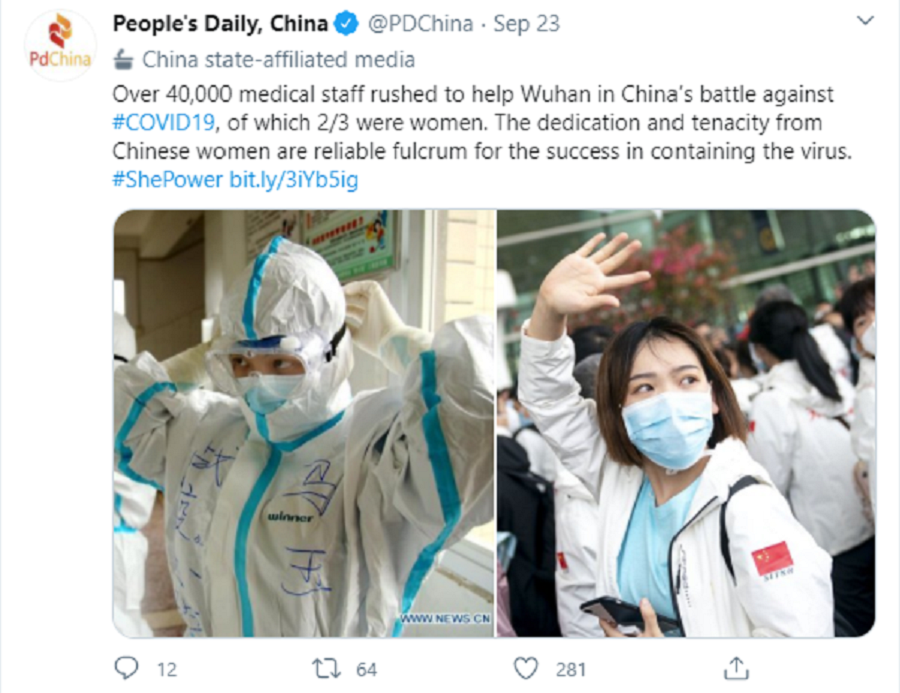 People's Daily post portraying the dedication of female medical staff in the fight against the Covid-19 pandemic. (Twitter/@PDChina)