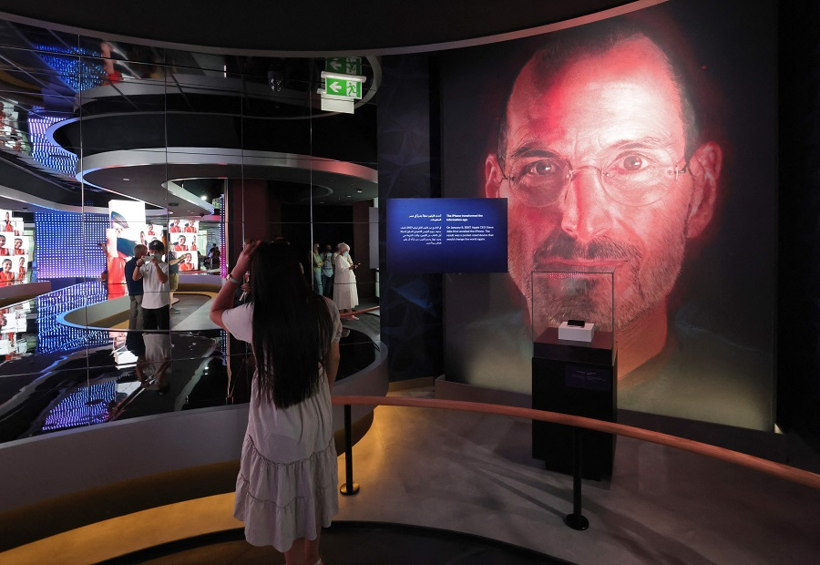 A picture shows an image of Apple founder and late CEO Steve Jobs in the interior of the USA Pavilion at the Dubai Expo 2020, on 1 October 2021. (Giuseppe Cacace/AFP)