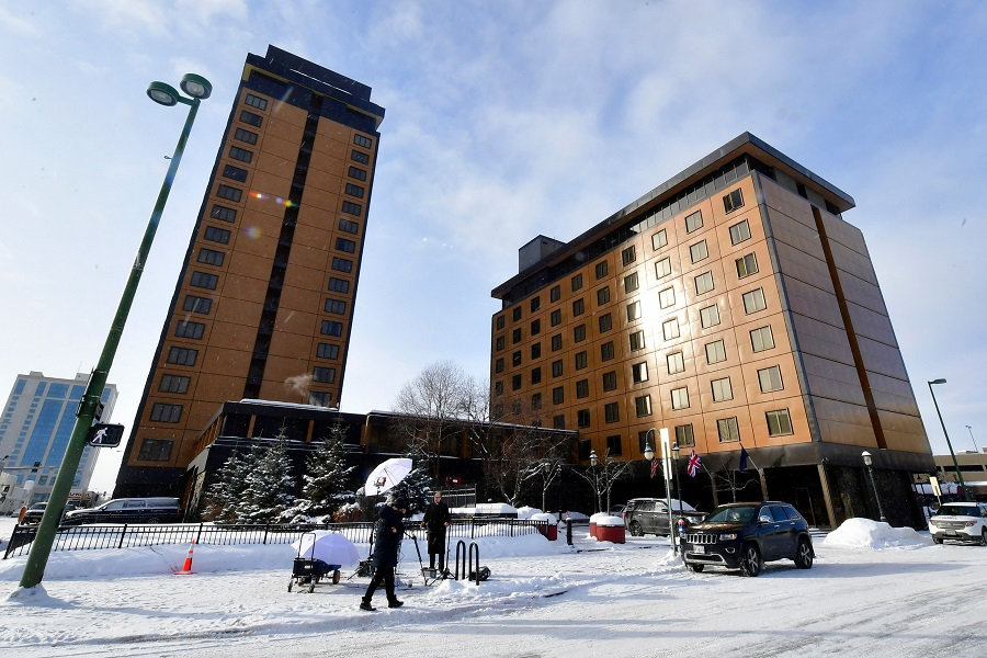 The Captain Cook hotel is pictured in Anchorage, Alaska where talks are underway between US and Chinese delegations on 18 March 2021. (Frederic J. Brown/Pool/AFP)