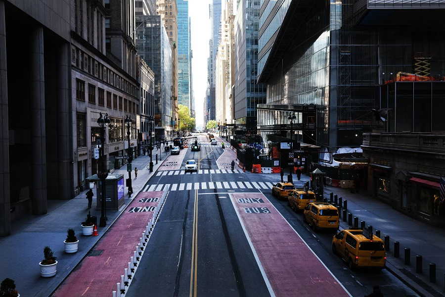 Usually one of the most congested streets in Manhattan, 42nd Street stands nearly empty on 12 May 2020 in New York City. (Spencer Platt/Getty Images/AFP)
