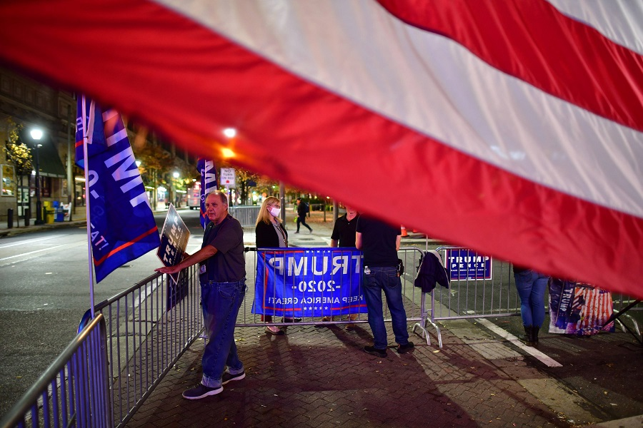 Supporters of US President Donald Trump demonstrate outside of where votes are still being counted, six days after the general election on 9 November 2020 in Philadelphia, Pennsylvania. (Mark Makela/Getty Images/AFP)