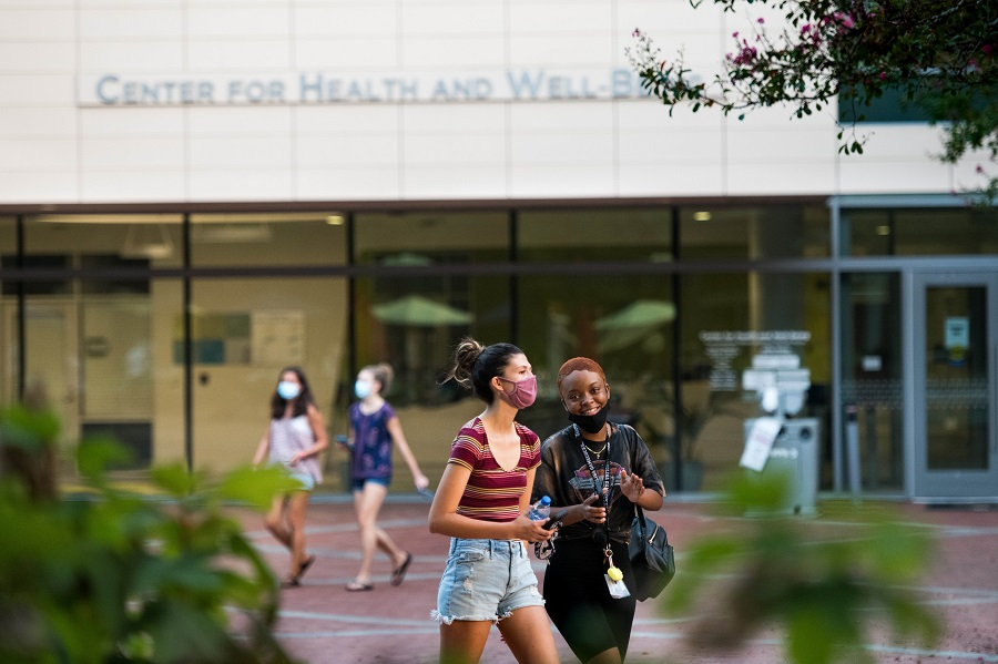 Students walk in front of the Center for Health and Well-Being at the University of South Carolina on 3 September 2020 in Columbia, South Carolina. (Sean Rayford/Getty Images/AFP)