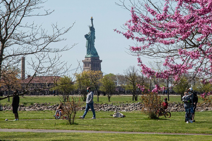 People visit Liberty State Park in Jersey City, New Jersey, on 2 May 2020. (Kena Betancur/AFP)