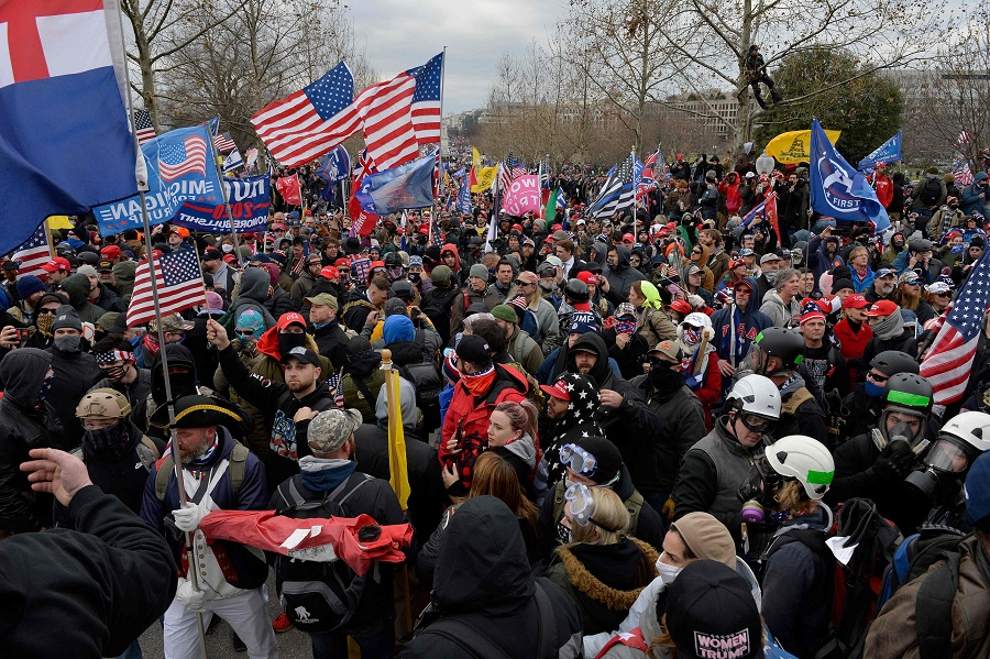 Trump supporters fill the area around the US Capitol in Washington DC on 6 January 2021. (Joseph Prezioso/AFP)