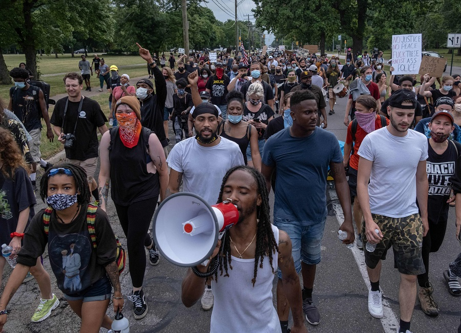 Protesters march against police brutality near Detroit's west side, on 10 July 2020. (Seth Herald/AFP)
