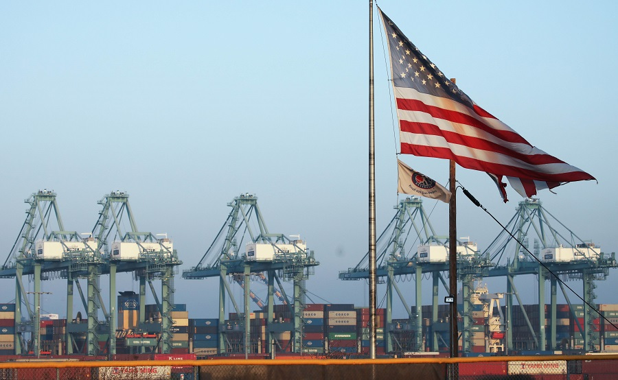 Port of Los Angeles officials said October cargo volume was down 19% this year compared with October 2018 due to tariffs imposed in the U.S.-China trade war. (Getty images/AFP)
