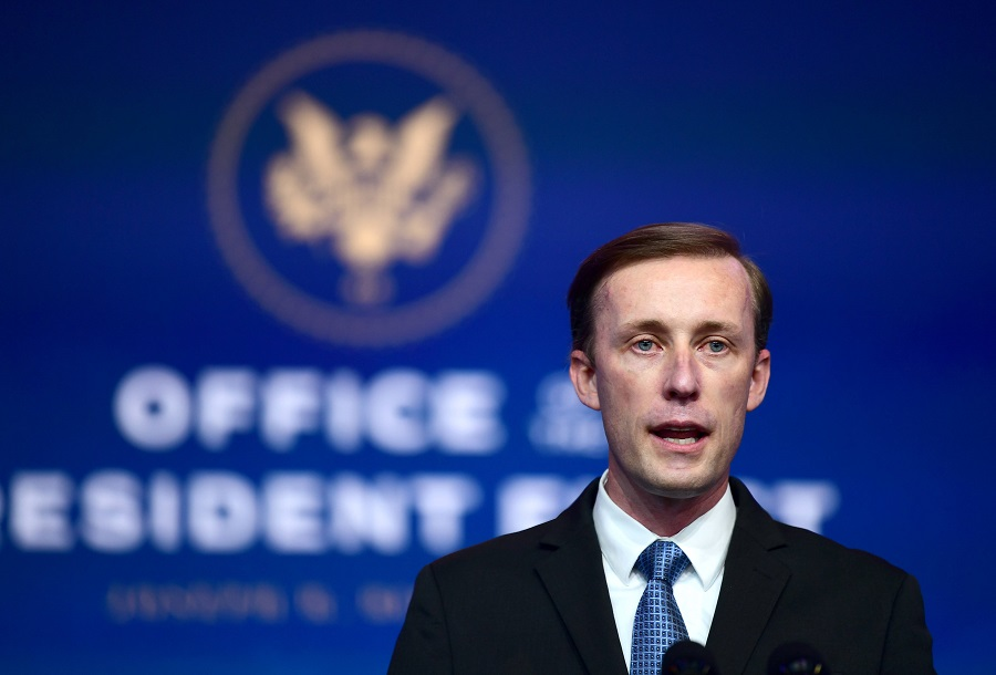 National Security Advisor-designate Jake Sullivan speaks after being introduced by President-elect Joe Biden as he introduces key foreign policy and national security nominees and appointments at the Queen Theatre on 24 November 2020 in Wilmington, Delaware. (Mark Makela/Getty Images/AFP)