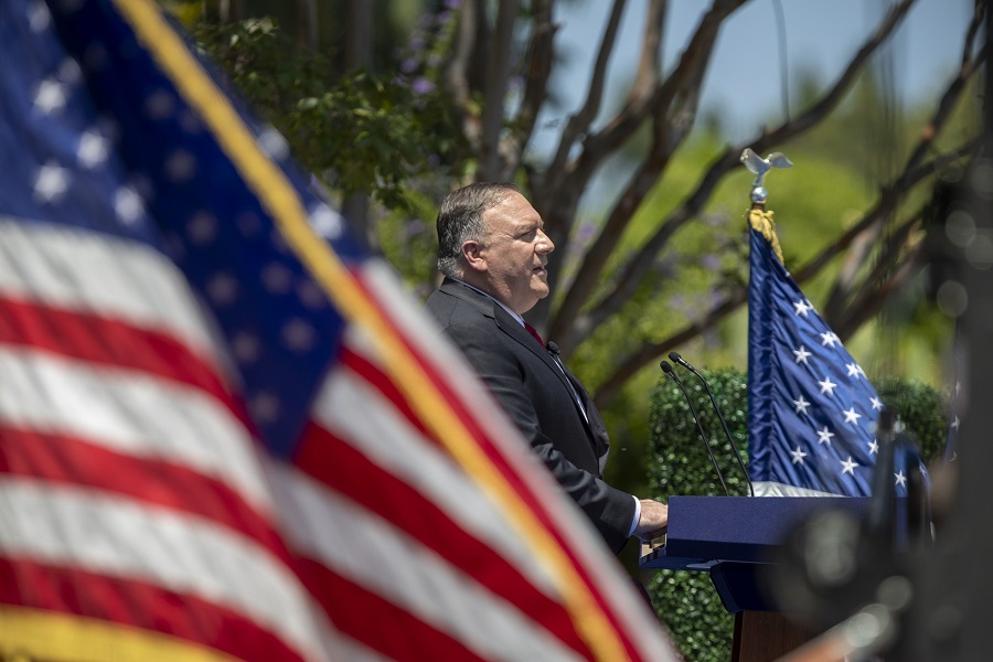 US Secretary of State Mike Pompeo delivers a speech on Communist China and the future of the free world at the Richard Nixon Presidential Library on 23 July 2020 in California. (David McNew/Getty Images/AFP)