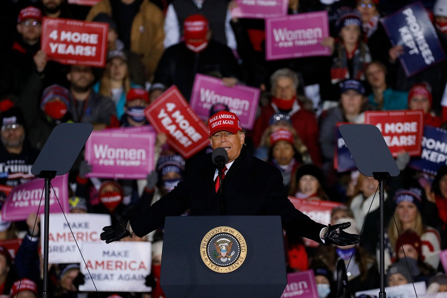 US President Donald Trump speaks during his final Make America Great Again rally of the 2020 US Presidential campaign at Gerald R. Ford International Airport on 2 November 2020, in Grand Rapids, Michigan. (Jeff Kowalsky/AFP)