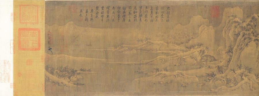 Emperor Huizong of Song (Zhao Ji), Returning Boats on a Snowy River (《雪江归棹图》), partial, The Palace Museum. (Internet)
