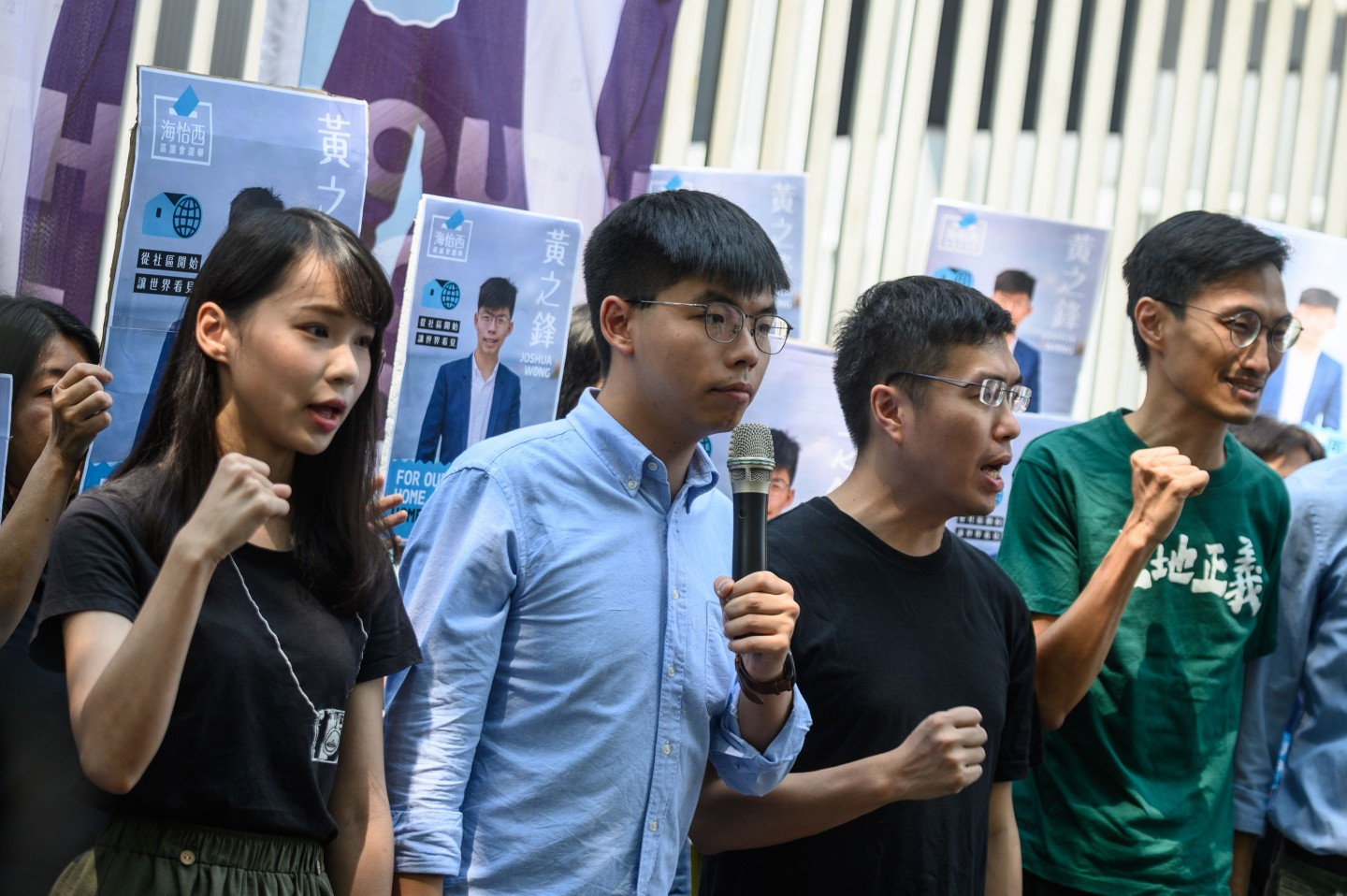 Within a week of returning to Hong Kong from Washington, Wong promptly announced his intention to participate in the upcoming district council elections in November. (Philip Fong / AFP)
