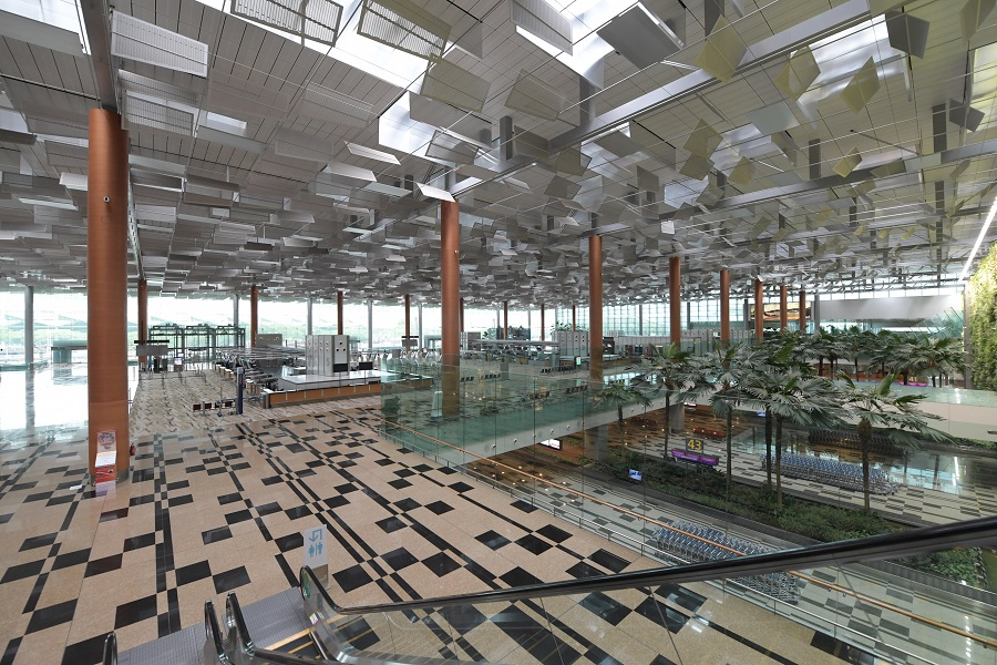 The empty Changi Airport Terminal 3 departure hall on 23 June 2020. (SPH)