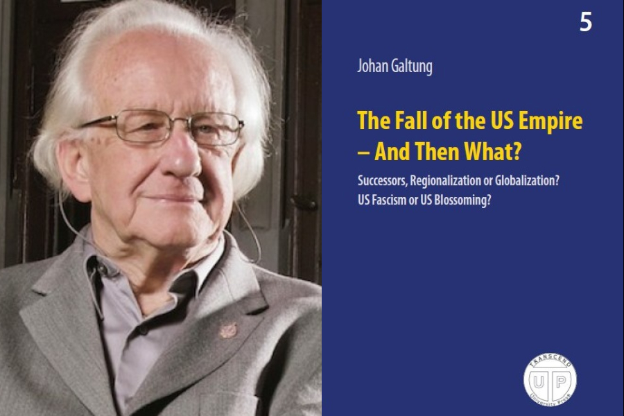 Johan Galtung and his book The Fall of the US Empire — And Then What?. (Internet)
