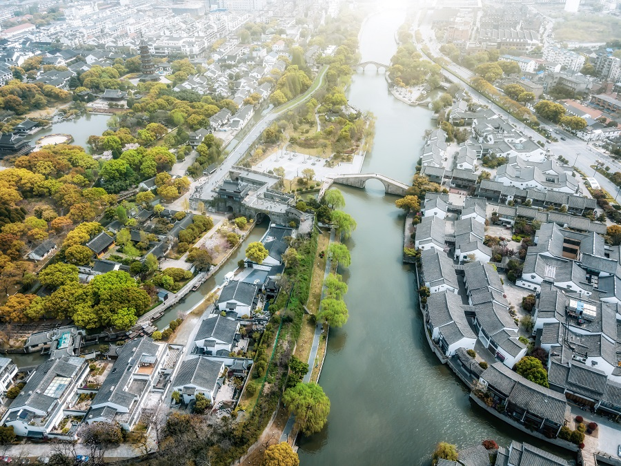 Aerial photography of ancient houses and rivers in the old city of Suzhou