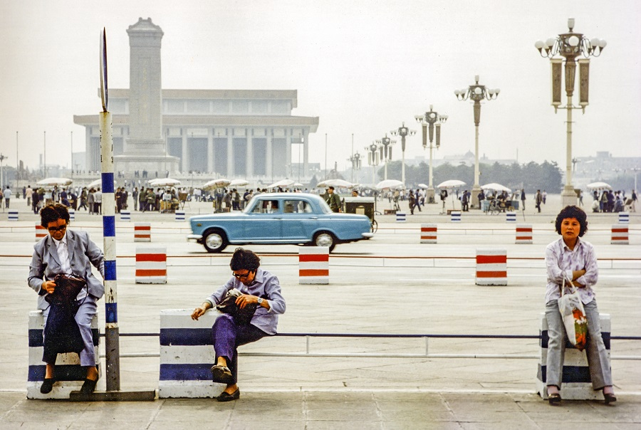 Women sit at Tiananmen Square, Beijing, China, 1981. (iStock)