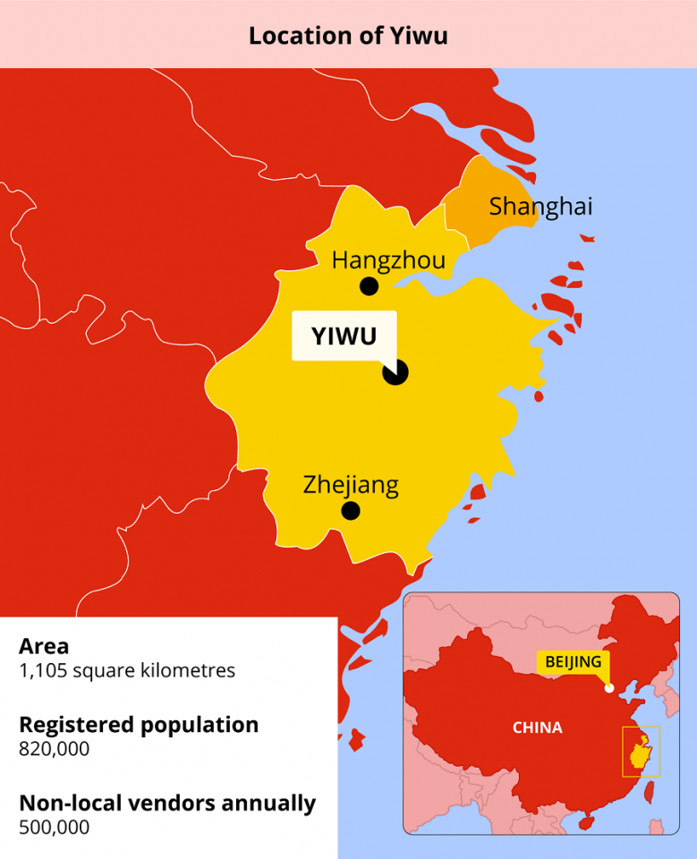 Location of Yiwu. (Graphic: Jace Yip)