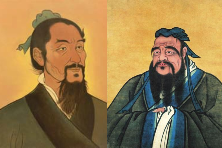 """Mozi (left) and Confucius, with conflicting ideas of the """"ghost"""". (Internet)"""