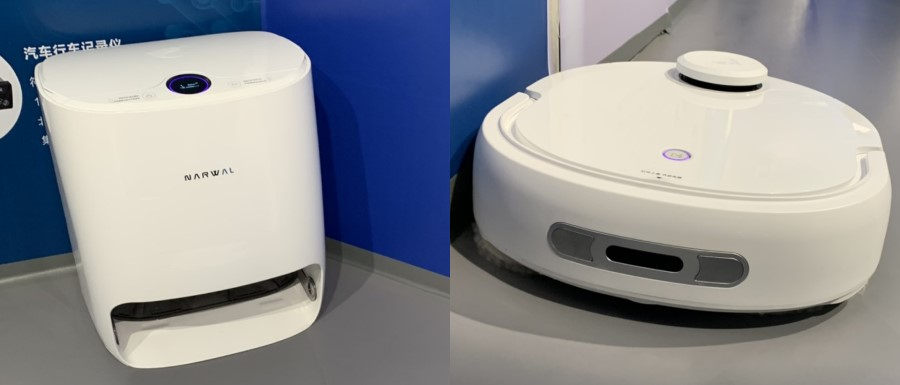 """At the Songshan Lake Xbot Park, the Narwel team is about to launch its cleaning robot, the first in the world that can change the water for its cleaning cloth. On the left is the base, the robot's """"home"""" and """"shower"""" facility. (Photo: Han Yong Hong)"""