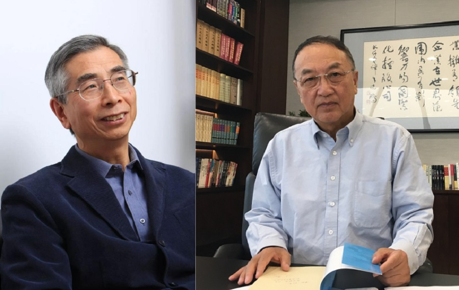 (left to right) Ni Guangnan (Internet) and Lenovo founder Liu Chuanzhi (SPH).