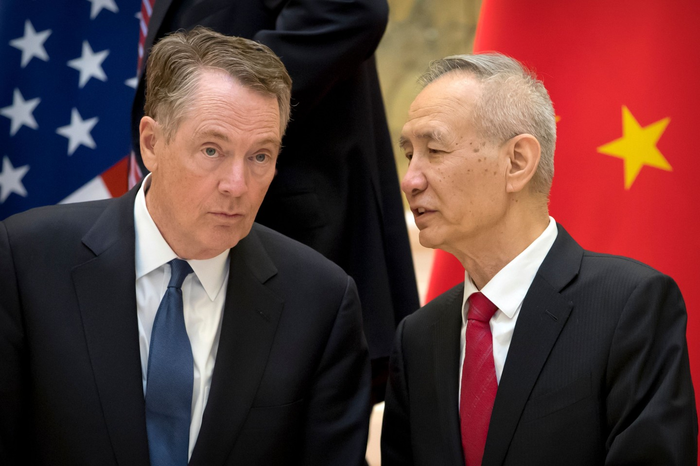 Pictured in this file photo taken on February 15, 2019, are US Trade Representative Robert Lighthizer (left) and Chinese Vice Premier Liu He. (Mark Schiefelbein/POOL/AFP)