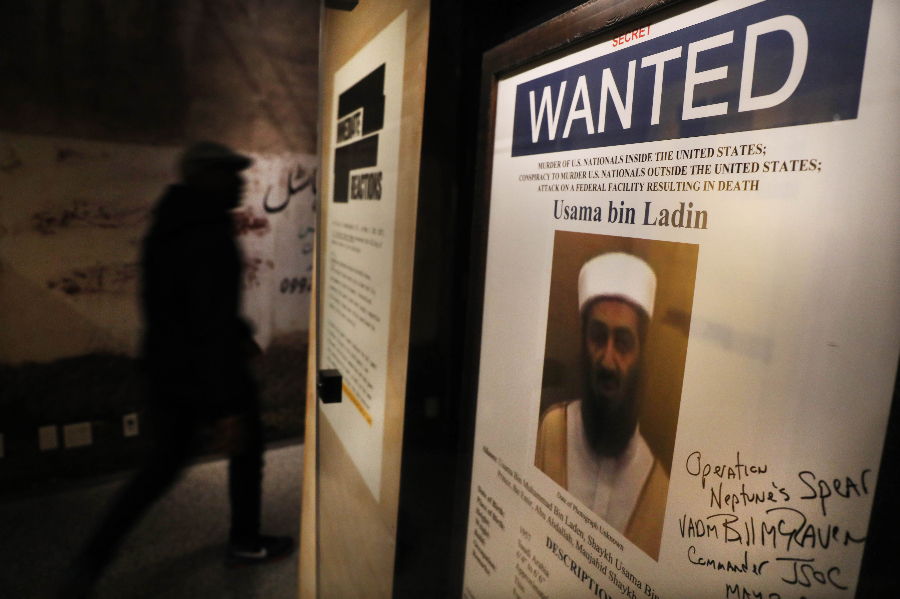 A poster and picture used to identify Osama Bin Laden is displayed at the new exhibition Revealed: The Hunt for Bin Laden at the 9/11 Memorial Museum on November 07, 2019 in New York City. The exhibition features declassified documents, testimony and objects to tell the story of the decade long hunt and capture of Osama Bin Laden, the terrorist mastermind behind the September 11 terror attacks. (Spencer Platt/Getty Images/AFP)
