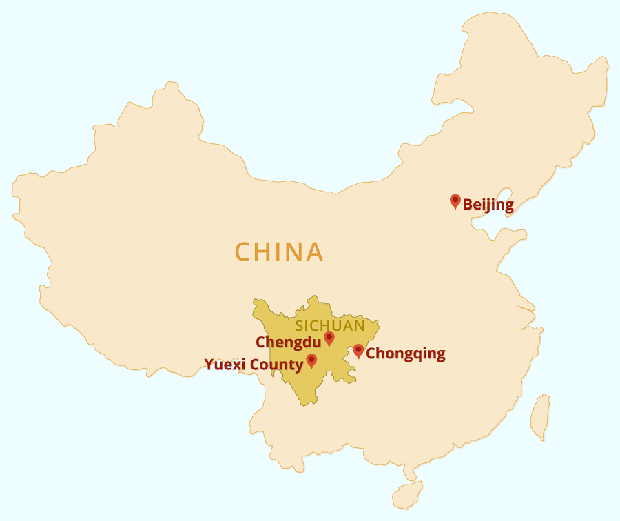 Location of Yuexi County in Sichuan. (Graphic: Jace Yip)