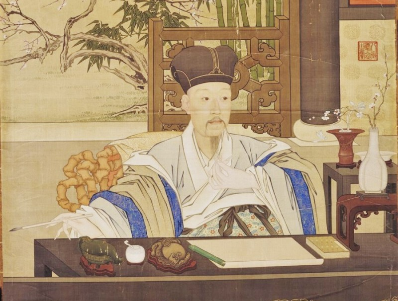 Emperor Qianlong writing (《乾隆帝写字像》), The Palace Museum. (Internet)