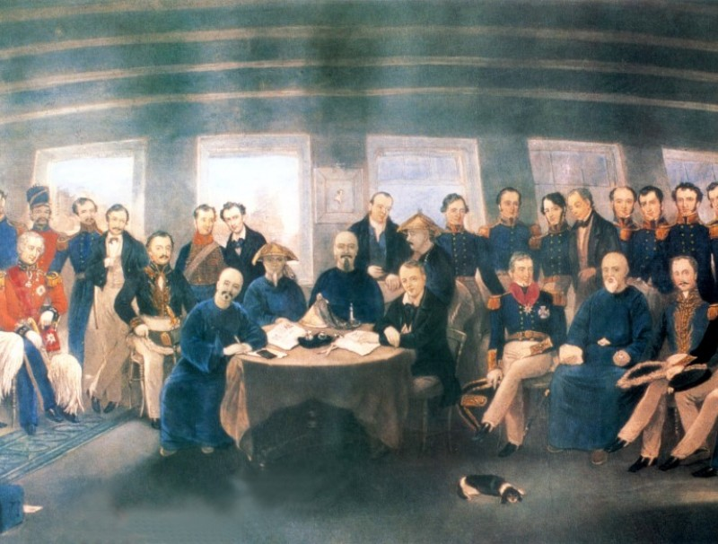 """In 1842, the Chinese and British delegations consisting of the Chinese Minister of Revenue Keying, the viceroy of Liangjiang Yilibu, and the first governor of Hong Kong Henry Pottinger signed the Treaty of Nanjing — the first """"unequal treaty"""" between China and a foreign country — on board HMS Cornwallis moored in Nanjing Harbour."""