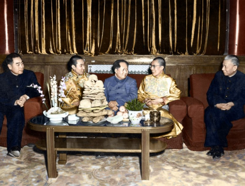 The Dalai Lama (second from right) and Panchen Lama (second from left) with Mao Zedong, accompanied by Premier Zhou Enlai (first from left) and CCP vice chairman Liu Shaoqi during the Chinese New Year period, 23 February 1955.