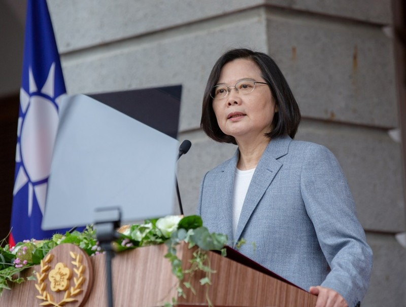 Taiwan President Tsai Ing-wen delivers her inaugural address at the Taipei Guest House in Taipei, Taiwan on 20 May 2020. (Wang Yu Ching/Taiwan Presidential Office/Handout via Reuters)