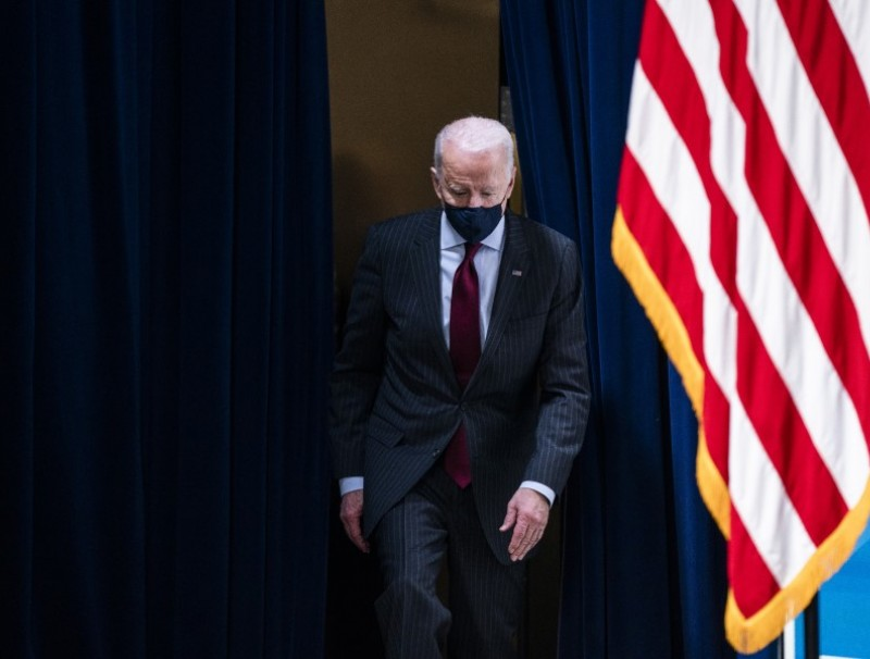 U.S. President Joe Biden arrives for an event in the Eisenhower Executive Office Building in Washington, D.C., U.S., on 22 February 2021. (Jim Lo Scalzo/Bloomberg)