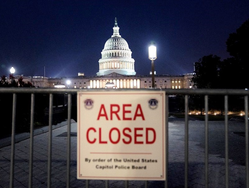 A police barricade is seen in front of the US Capitol in Washington, DC, US, on 14 September 2021. (Stefani Reynolds/Bloomberg)