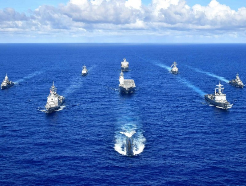 Royal Australian Navy, Republic of Korea Navy, Japan Maritime Self-Defense Force, and United States Navy warships sail in formation during the Pacific Vanguard 2020 exercise, 11 September 2020. (Official Japan Maritime Self-Defense Force photo)