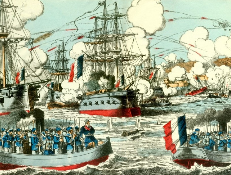 A colour illustration on 8 April 1884 shows the Battle of Fuzhou, with a shower of gunfire from French vessels and the Fujian Fleet either sinking or damaged.
