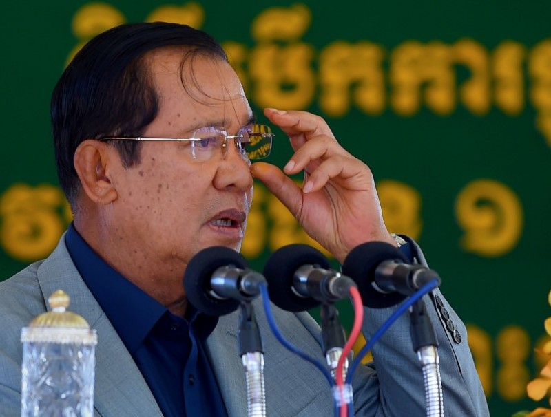 Cambodia's Prime Minister Hun Sen speaks during a ground breaking ceremony for the construction of a bridge across the Bassac river in Phnom Penh on 26 October 2020. (Tang Chhin Sothy/AFP)