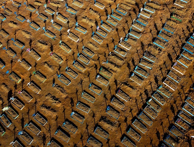 This aerial file photo taken on 21 June 2020 shows graves in the Nossa Senhora Aparecida cemetery in Manaus, Brazil. (Michael Dantas/AFP)