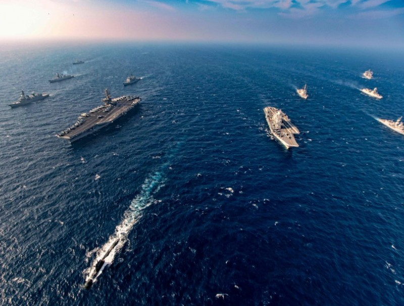 This handout photo taken and released by the Indian Navy on 17 November 2020 shows ships taking part in the second phase of the Malabar naval exercise in the Arabian sea. India, Australia, Japan and the United States started the second phase of a strategic navy drill on 17 November in the Northern Arabian sea. (Indian Navy/AFP)